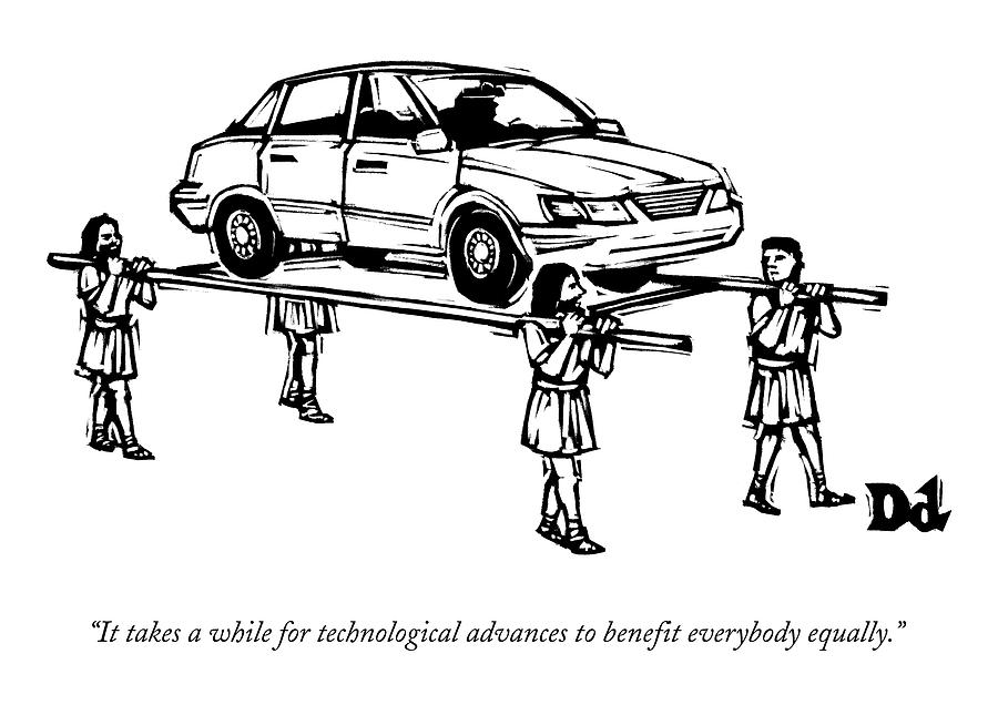 Four Roman Servants Carry A Car On A Canopy Like Drawing by Drew Dernavich