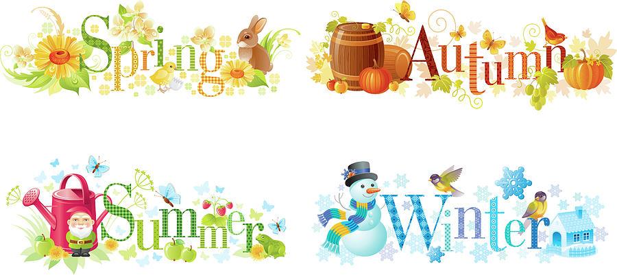 Four Seasons Spring, Summer, Autumn Digital Art by O-che