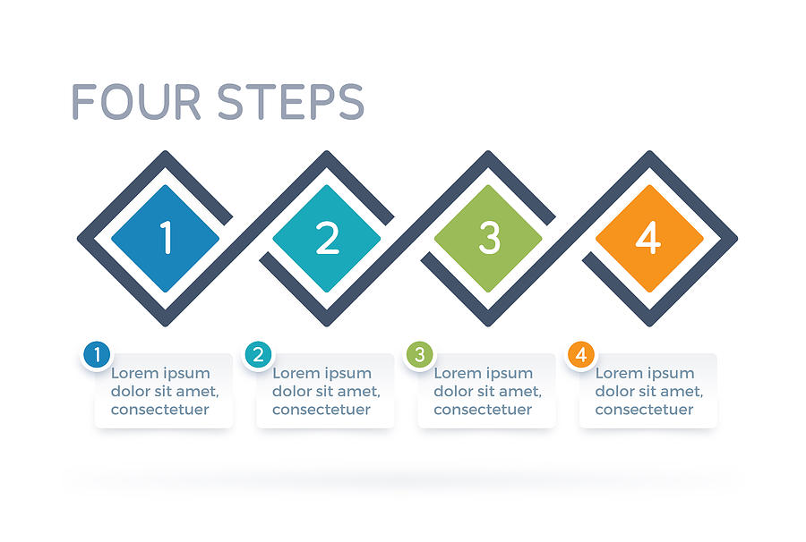 Four Step Process Infographics Drawing by Filo