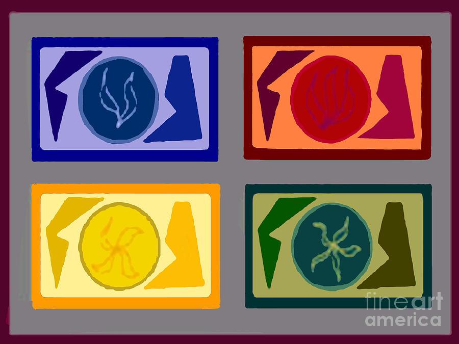 Geometric Shapes Digital Art - Four Tiles by Meenal C