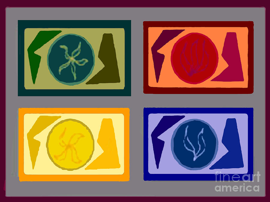 Geometric Shapes Digital Art - Four Tiles2 by Meenal C