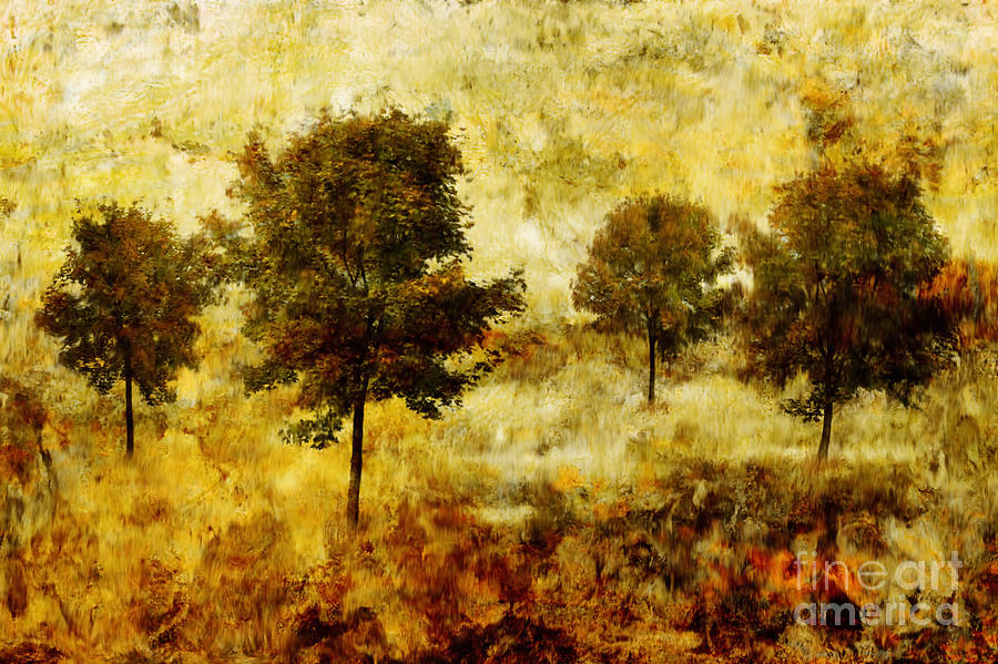 Abstract Painting - Four Trees by John Edwards