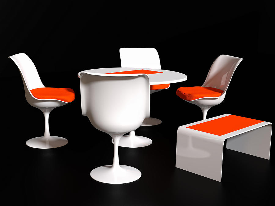 3d Photograph - Four Tulip Chairs by Jan Brons