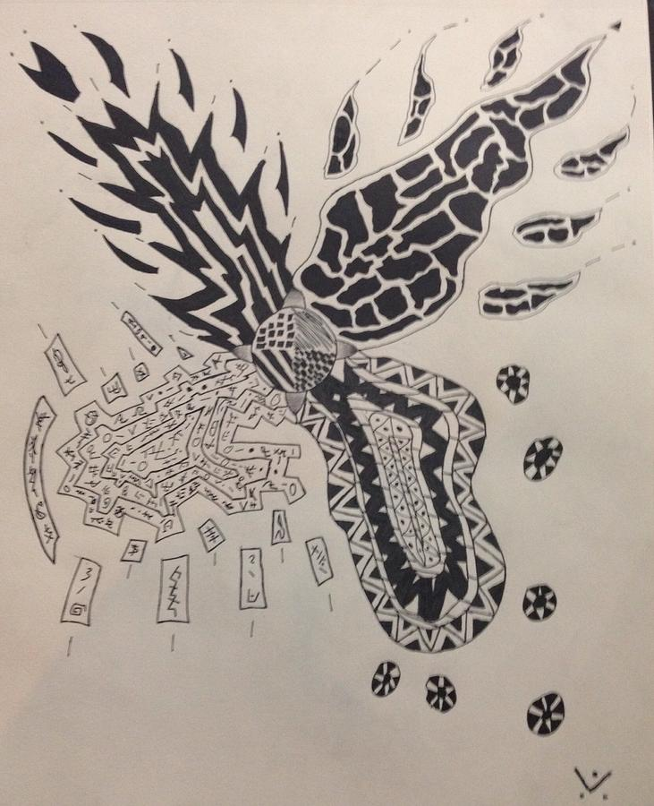 Ink Drawing - Four Ways by Drew Click
