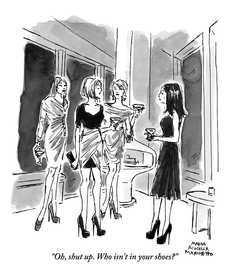 Four Women Hold Cocktails And Are Similarly Drawing by Marisa Acocella Marchetto