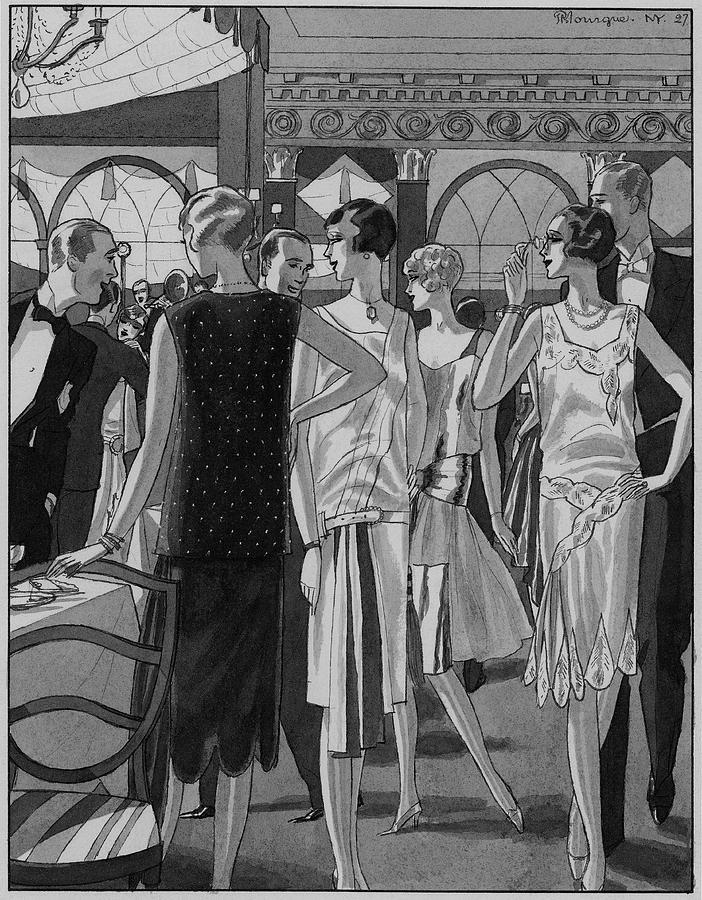 Four Women In Evening Wear Digital Art by Pierre Mourgue