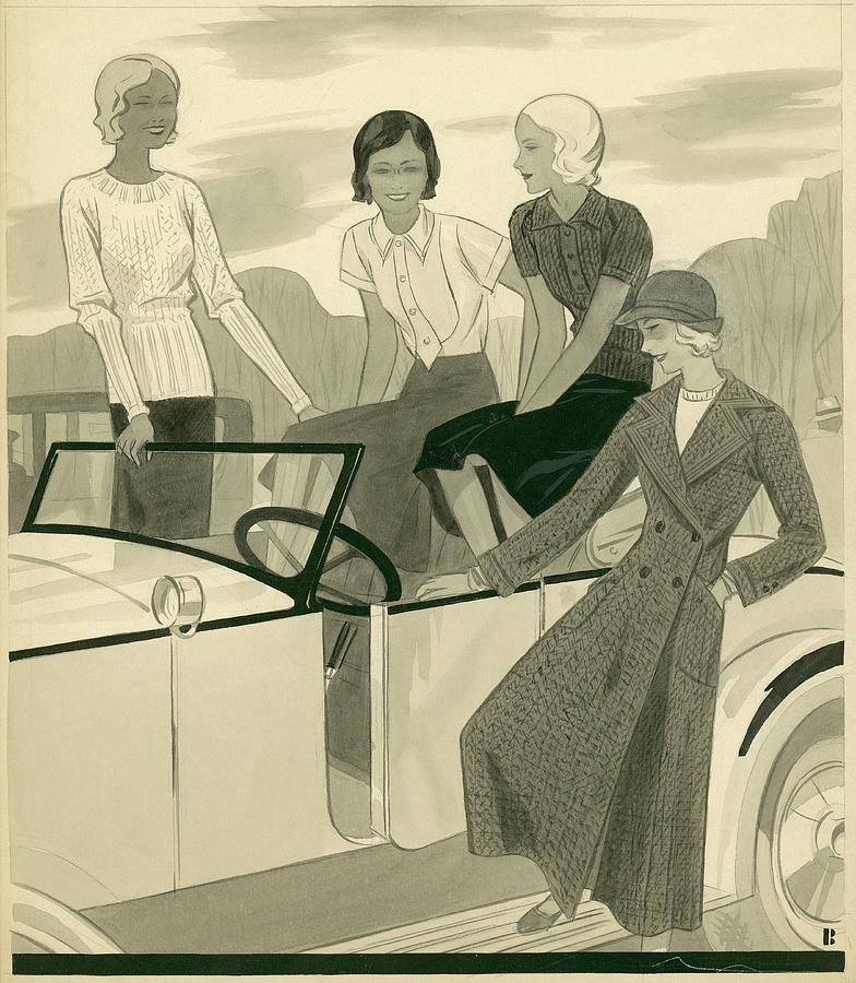 Four Women With A Car Digital Art by William Bolin