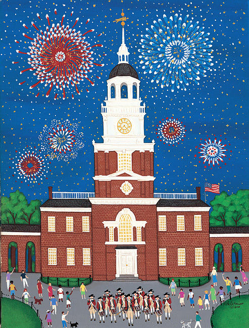 Fireworks Painting - Fourth Of July At Independence Hall by Patricia Palermino