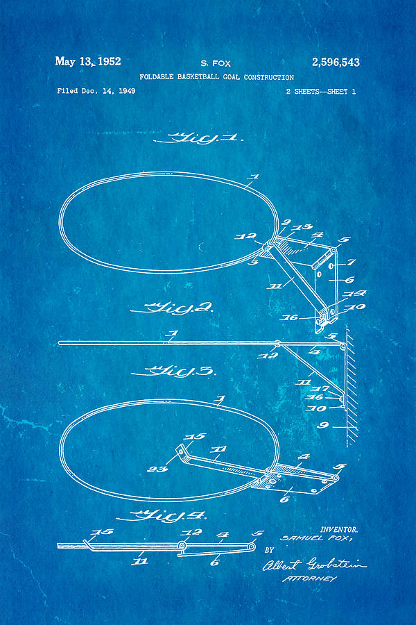 Basket Ball Photograph - Fox Foldable Basketball Goal Patent Art 1952 Blueprint by Ian Monk