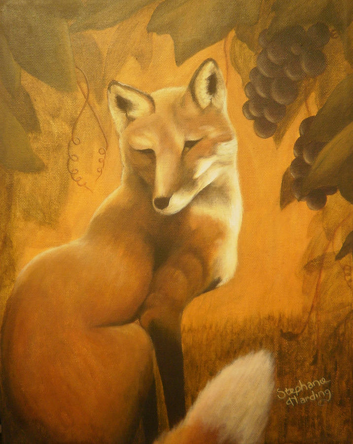 Fox Painting - Fox Grapes by Stephanie Harding