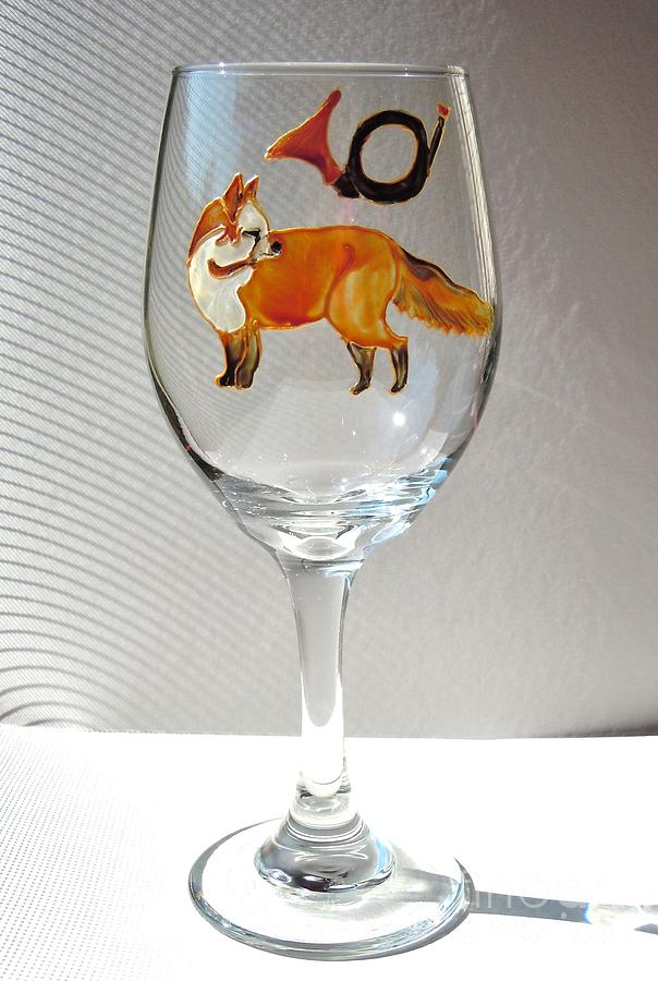 Fox Hunt Glass Art - Fox Hunting On Glass by Pauline Ross