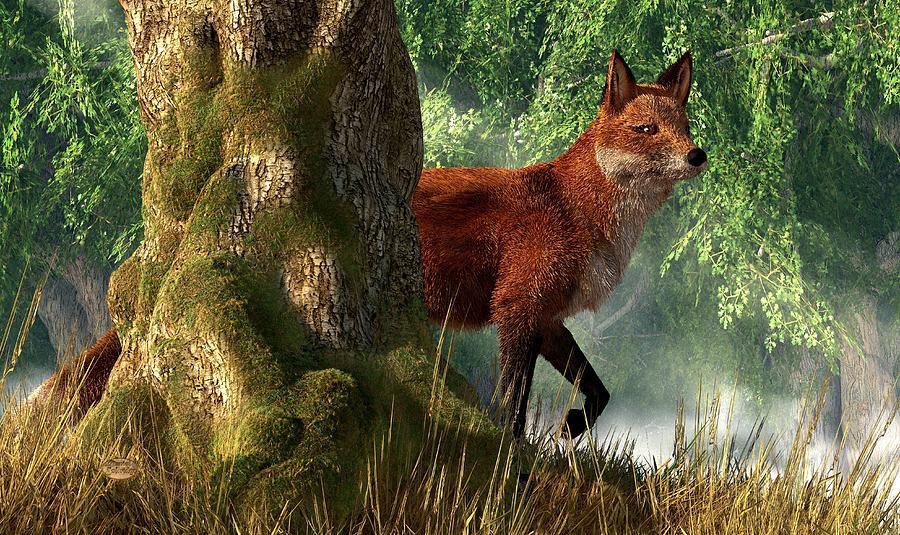 Fox Digital Art - Fox In A Forest by Daniel Eskridge