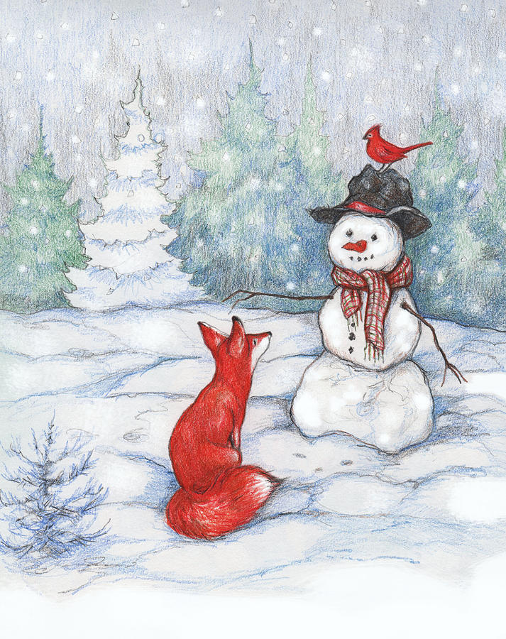 Fox Snowman And Cardinal Painting By Peggy Wilson