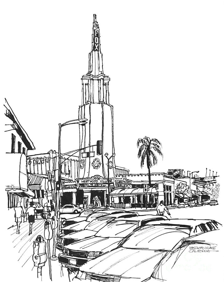 California - Westwood Village's Old And Classy Fox Theater  Drawing - Fox Theater Westwood Village California by Robert Birkenes