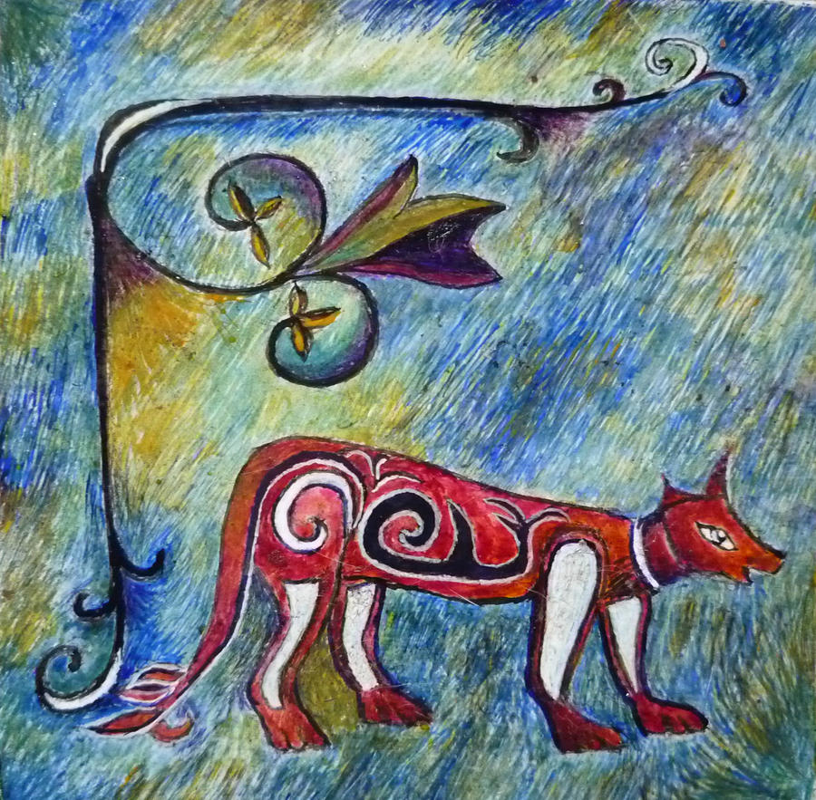 Egg Tempera Painting Painting - Fox Totem by Catherine Meyers