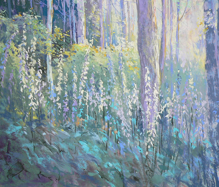 Woodland Scene Painting - Foxgloves In The Woods by Jackie Simmonds