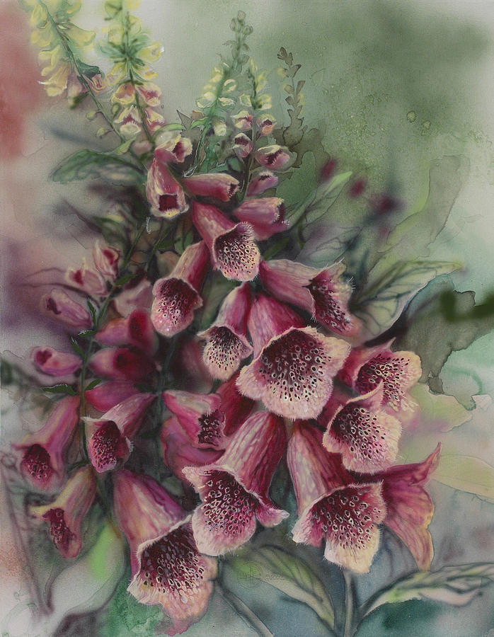 Flowers Painting - Foxgloves by Lynette Yencho