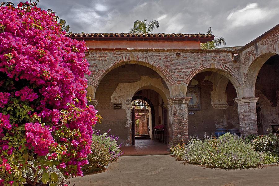 San Photograph - Fr. Serra Church Entrance by David Kehrli