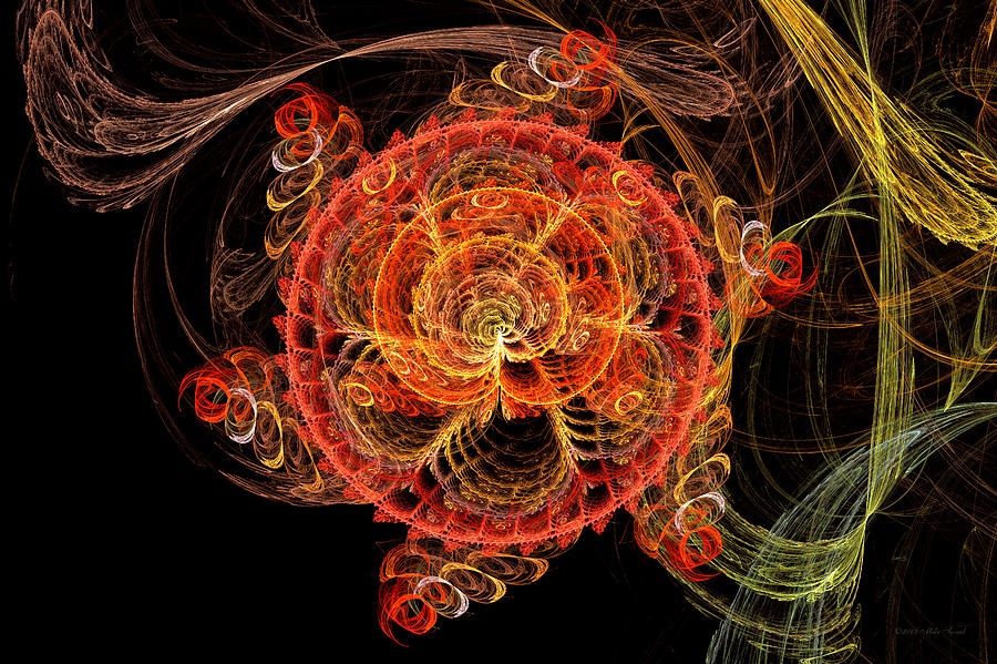 Abstract Digital Art - Fractal - Abstract - Mardi Gras Molecule by Mike Savad