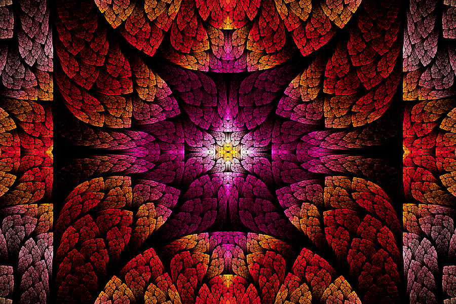 Abstract Digital Art - Fractal - Aztec - The All Seeing Eye by Mike Savad
