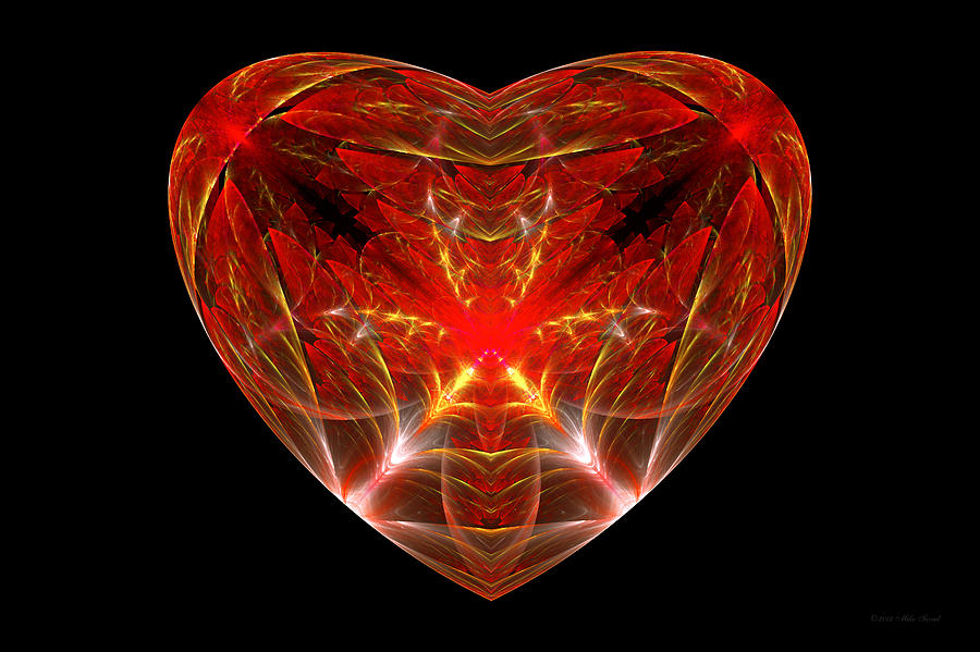 Abstract Photograph - Fractal - Heart - Open Heart by Mike Savad