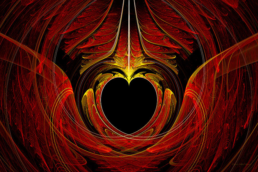 Abstract Digital Art - Fractal - Heart - Victorian Love by Mike Savad