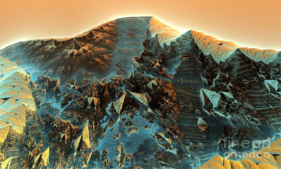 Digital Digital Art - Fractal Moutain by Bernard MICHEL