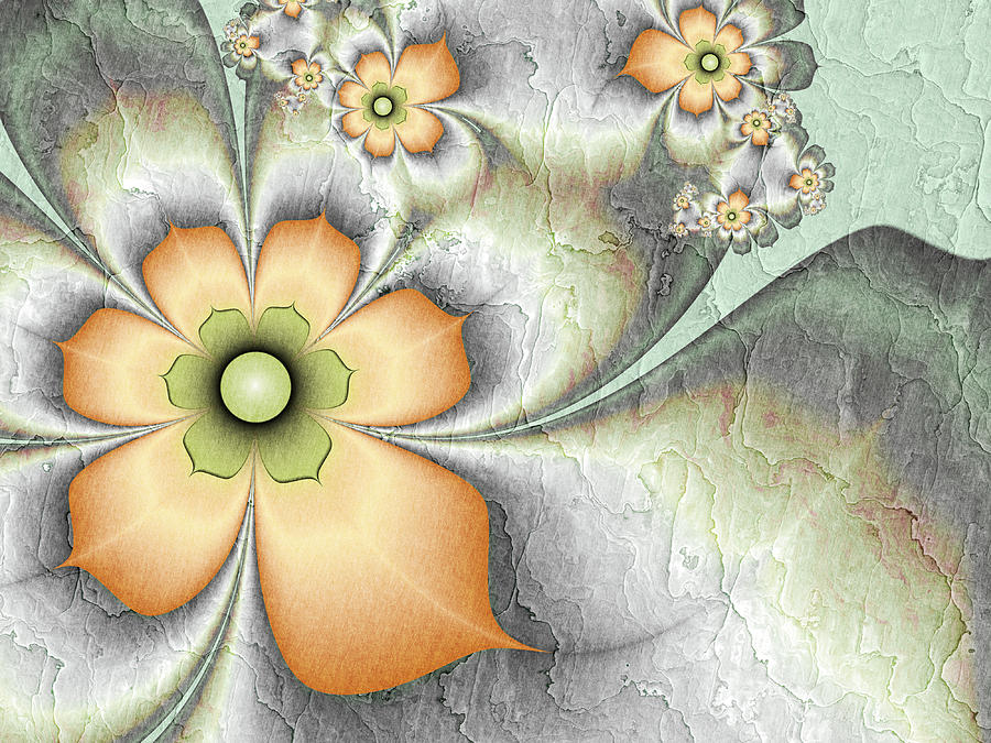Fractal Digital Art - Fractal Nostalgic Flowers by Gabiw Art