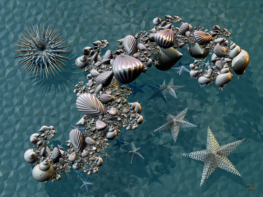 Abstract Digital Art - Fractal Sea Life by Manny Lorenzo