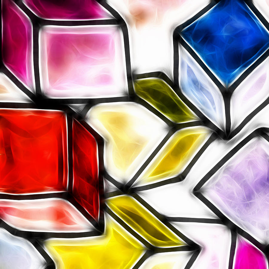 Geometry Drawing - Fractalius Cubes by Sharon Lisa Clarke