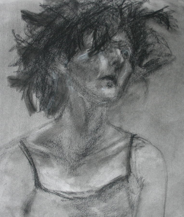 Original Drawing - Gathering Strength - Original Charcoal Drawing - Contemporary Impressionist Art by Quin Sweetman