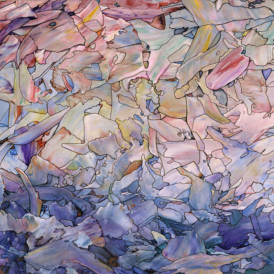 Abstract Painting - Fragmented Sea - Square by James W Johnson