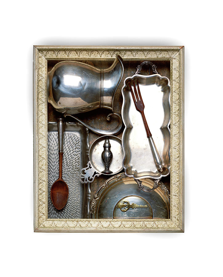 Frame With Vintage Silver Kitchen Items Photograph by Jonathan Kantor