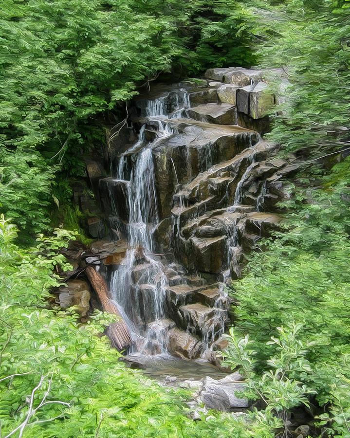 Waterfalls Painting - Framed Waterfalls On Mount Rainier by John Haldane