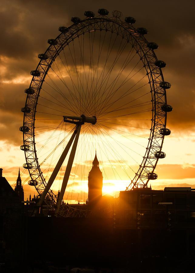 London Eye Photograph - Framing The Sunset In London - The London Eye And Big Ben  by Georgia Mizuleva