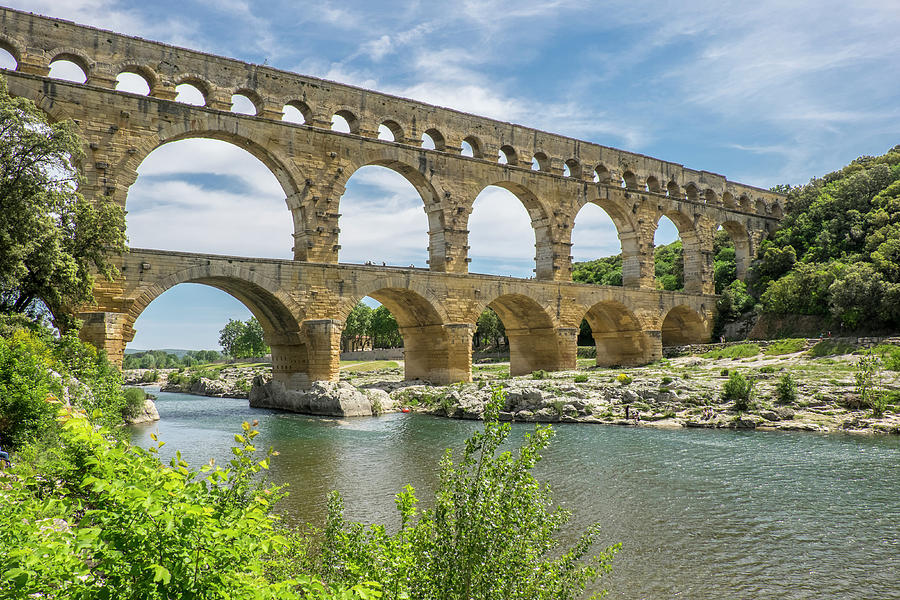 Aqueduct Photograph - France, Nimes, The Pont Du Gard Is An by Emily Wilson