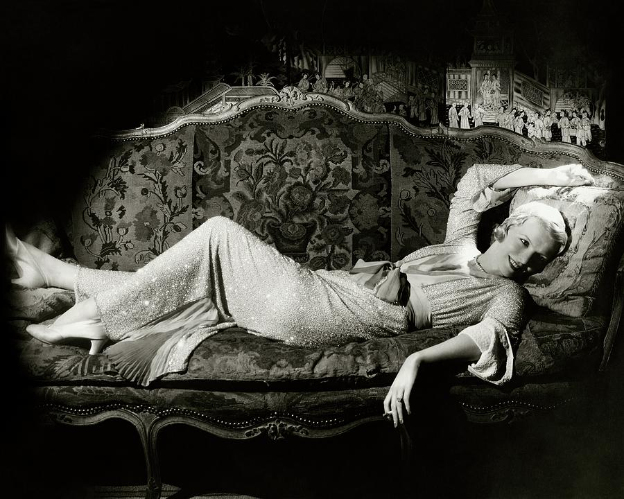 Frances Willams Lying On A Couch Photograph by Cecil Beaton