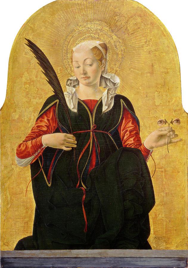 Francesco Drawing - Francesco Del Cossa, Saint Lucy, Italian by Litz Collection