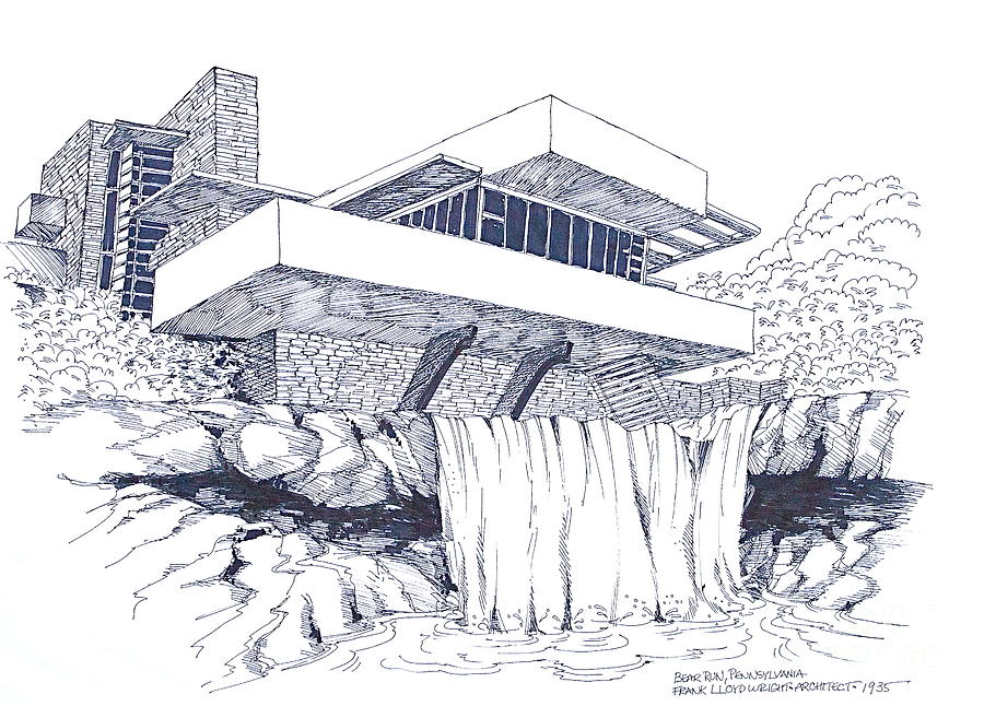 Frank Lloyd Wright Falling Water Architecture Drawing By Robert Birkenes