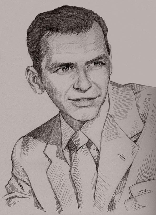 Realistic Drawing Drawing - Frank Sinatra by Jennifer Hotai