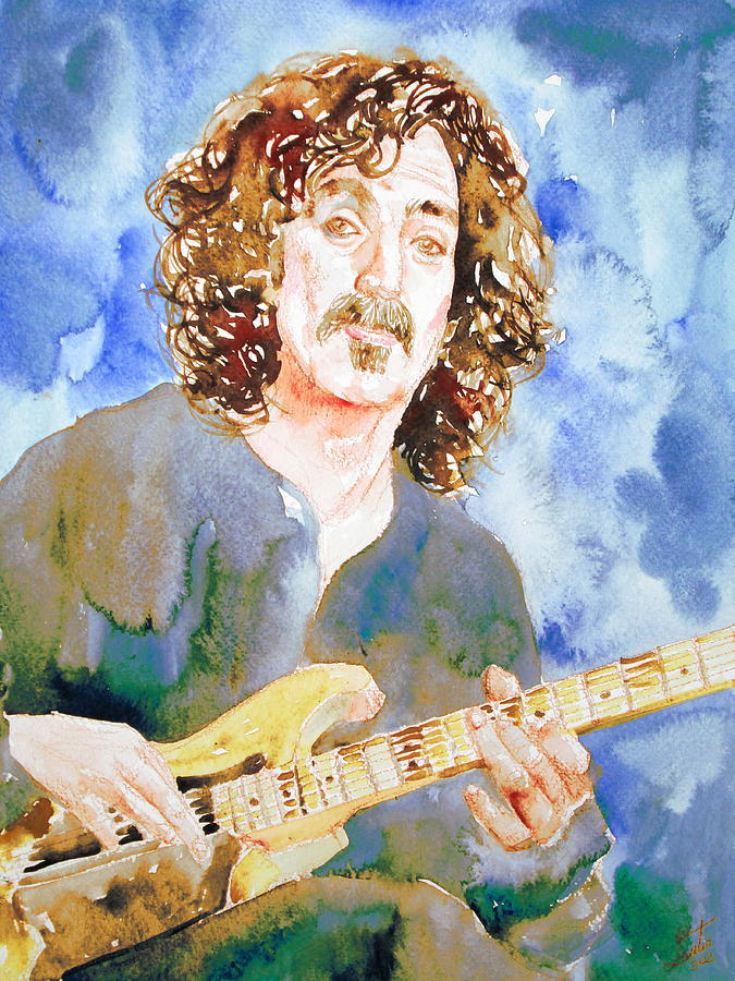 Frank Painting - Frank Zappa Playing The Guitar Watercolor Portrait by Fabrizio Cassetta