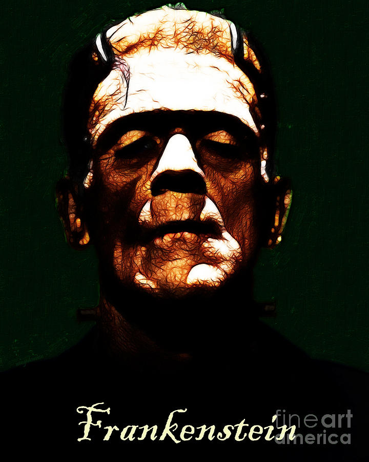 People Photograph - Frankenstein - Dark - With Text by Wingsdomain Art and Photography