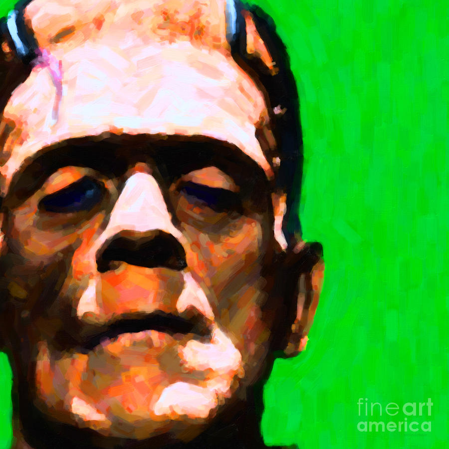 Celebrity Photograph - Frankenstein Painterly Green Square by Wingsdomain Art and Photography