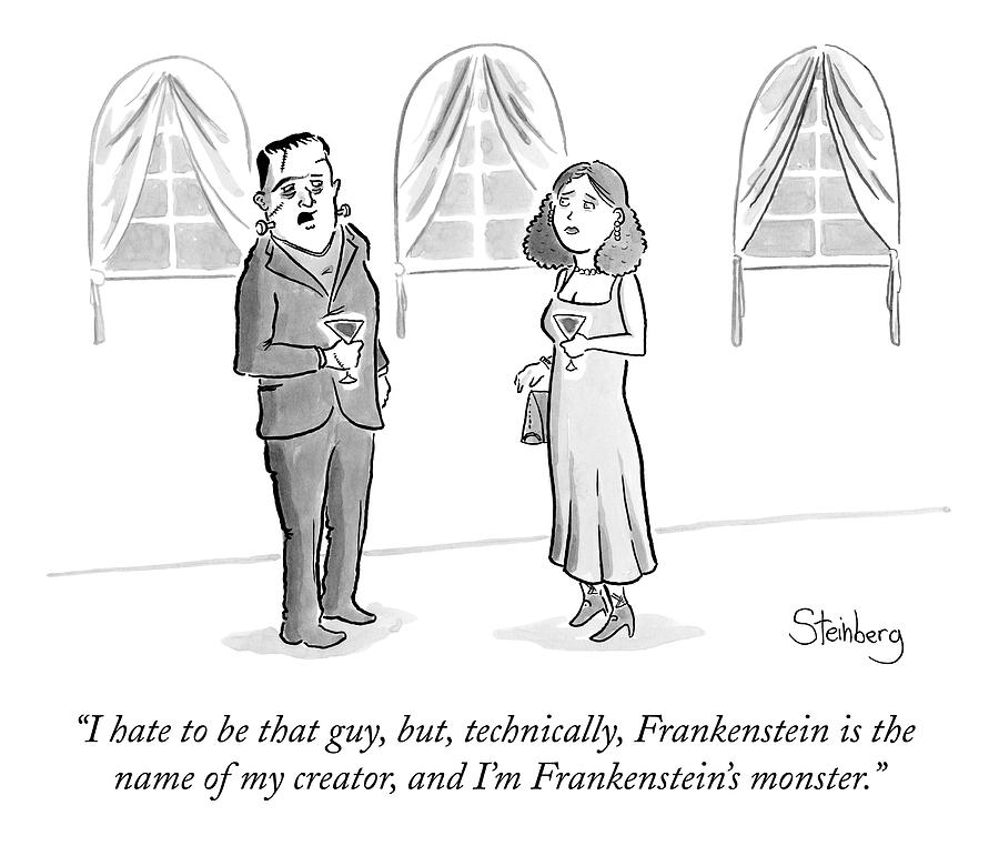 Frankensteins Monster Speaks To A Woman Drawing By Avi Steinberg