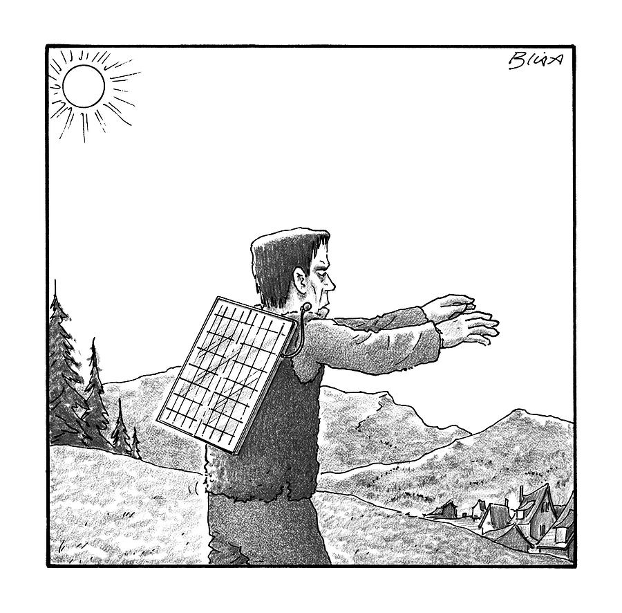 Frankensteins Monster Walks With A Solar Panel Drawing by Harry Bliss