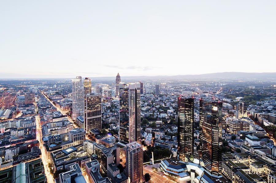 Frankfurt Banking District At Dusk Photograph by Raimund Koch