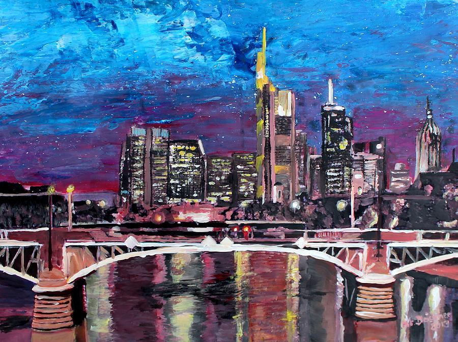 Night Painting - Frankfurt Main Germany - Mainhattan Skyline by M Bleichner