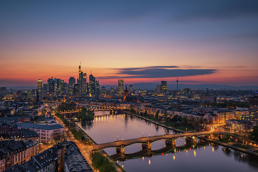Frankfurt Photograph - Frankfurt Skyline At Sunset by Robin Oelschlegel