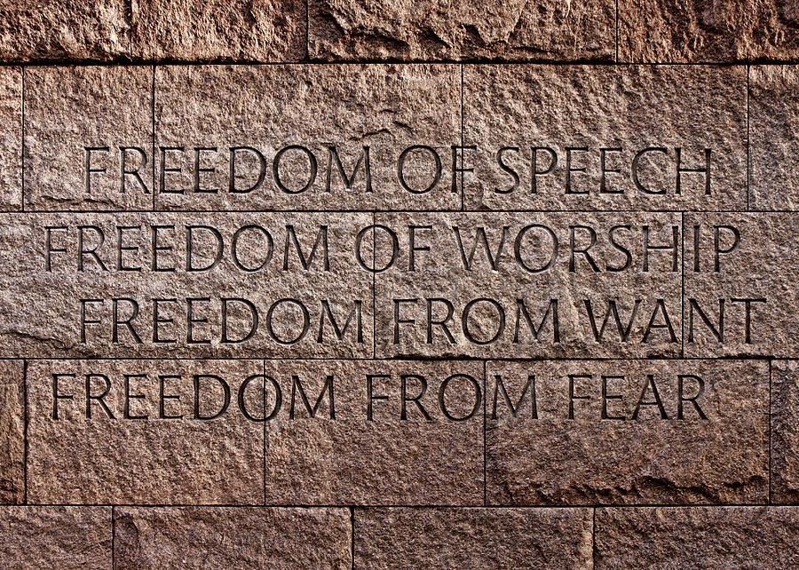 Franklin Delano Roosevelt Photograph - Franklin Delano Roosevelt Memorial Freedom Quote by John Cardamone