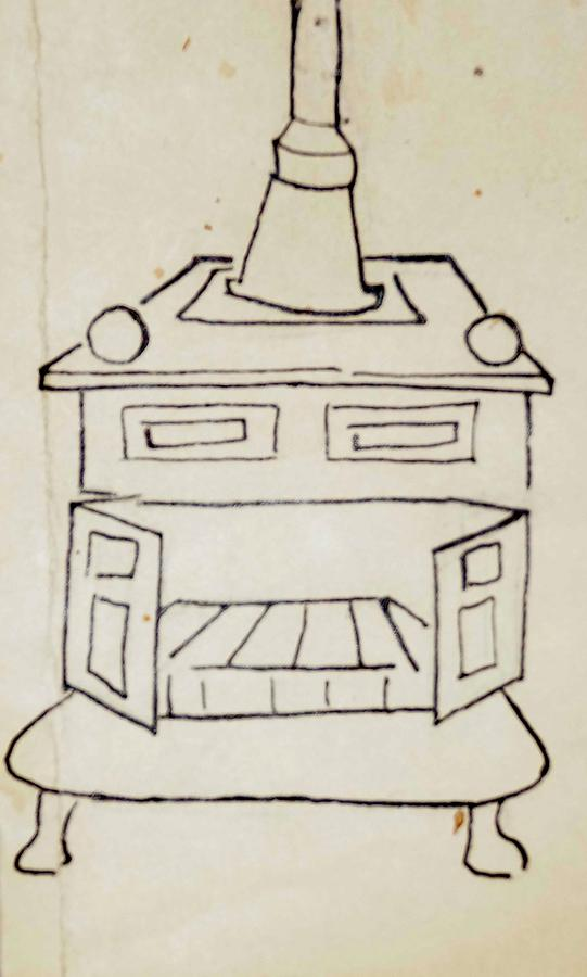 Franklin Stove Drawing - Franklin by Erika Chamberlin